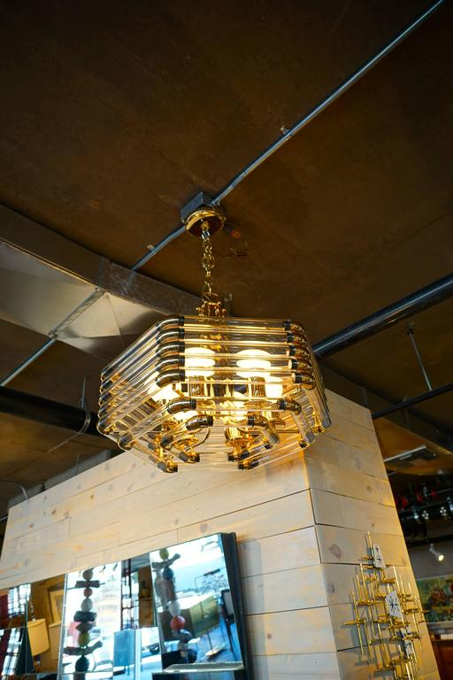 Brass and tubular glass hexagonal lighting fixture by bakalowitz and sohne c 1970s for sale at - The tubular glass house ...