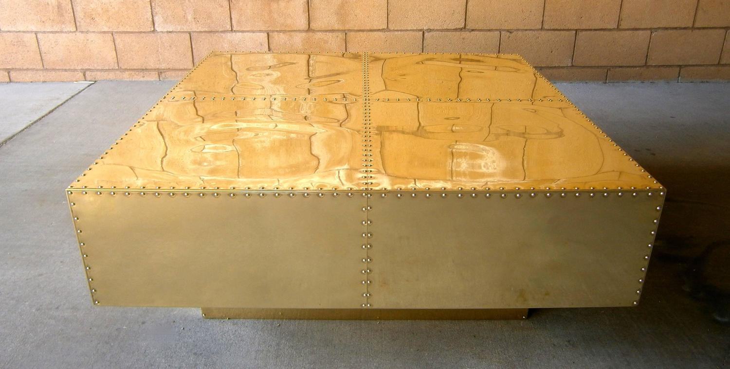 Polished studded brass square coffee table by sarreid ltd for Coffee table with studs