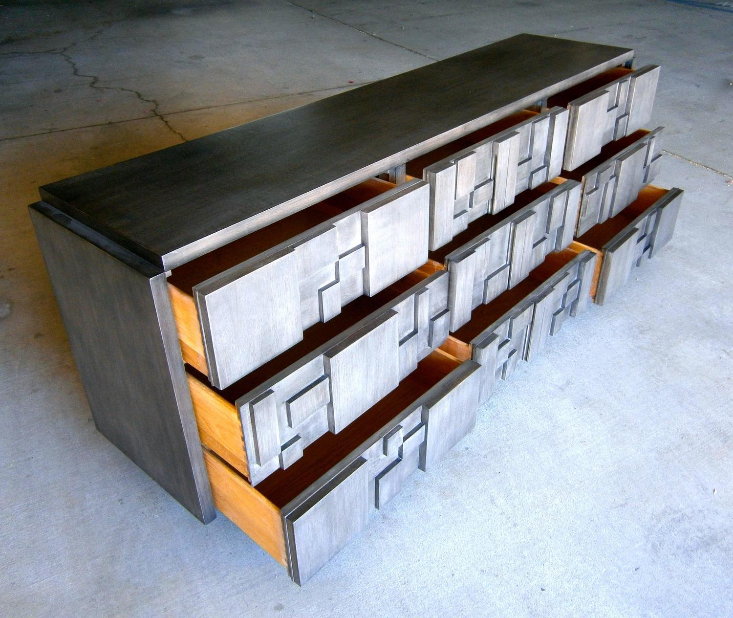 Gray Stained Mahogany Cubist 9 Drawer Chest By Lane Furniture Co Circa 1970s At 1stdibs