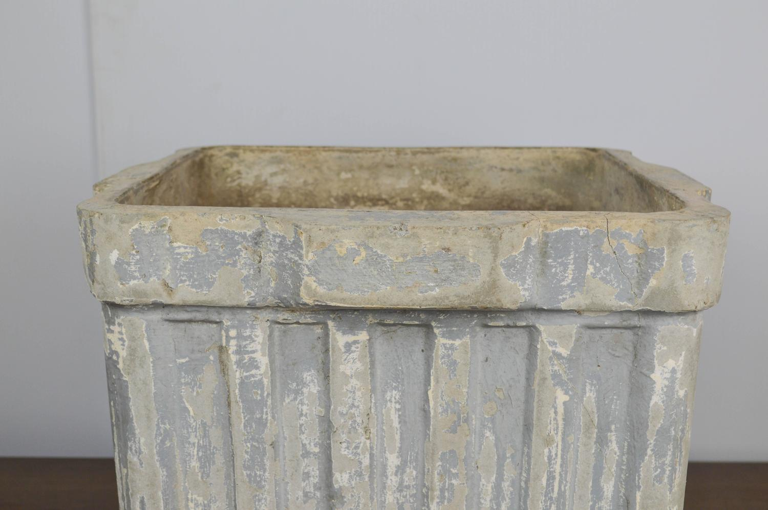 French Square Ribbed Box Planter In Fibercement For Sale