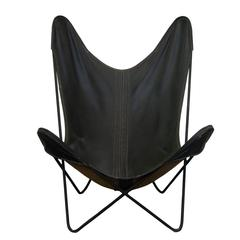Mid-Century Modern Butterfly Style Stackable Iron Framed Leather Chairs