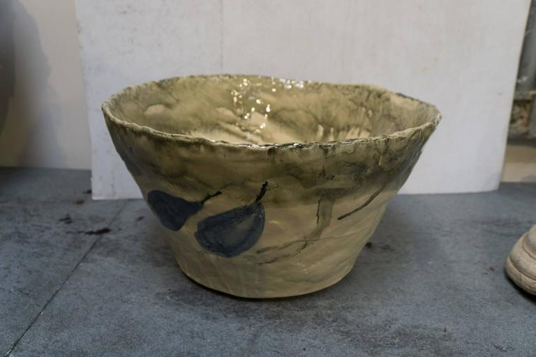 Hand-Carved French Mid-Century Hand Thrown Terra Cotta Bowl in Yellow Glaze For Sale