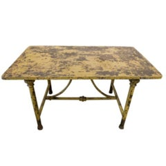 Antique Italian Iron Garden Table with Yellow Patina, circa 1900