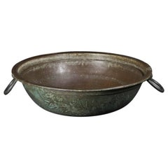 Antique Bronze Basin with Two Flaring Handles