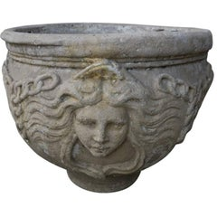 Round Concrete Planter with the Goddess of Nature
