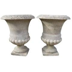 Vintage French Cast Stone Urns, circa 1940