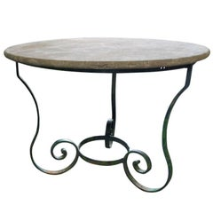 Antique French Iron Base Table with Stone Top, circa 1890