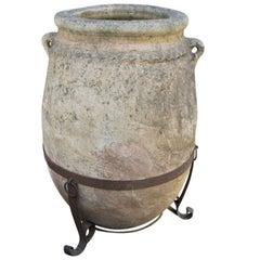 Antique Portuguese Terracotta Jar on Iron Stand, circa 1900
