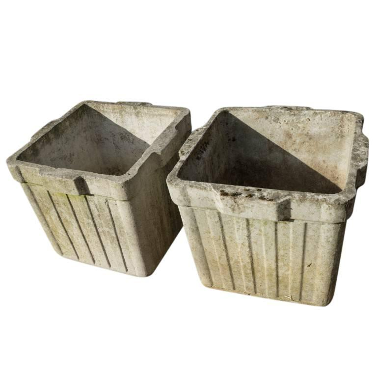Mid-20th Century Vintage French Cement Planters, circa 1960 For Sale