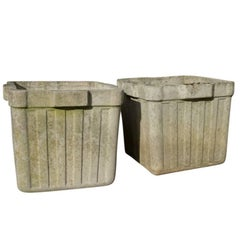 Vintage French Cement Planters, circa 1960