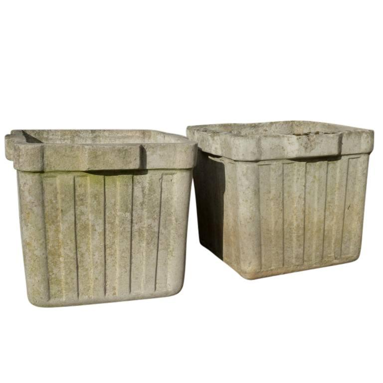 Vintage French Cement Planters, circa 1960 For Sale