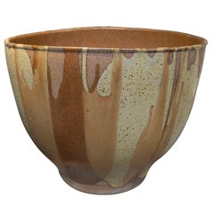 David Cressey Flame Glazed Vessel in Sienna Yellow and Rust