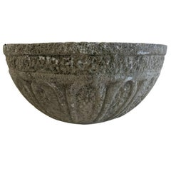 French Midcentury Cement Bowls with Decorative Design