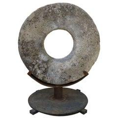 Stone Grinding Wheel Garden Art