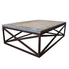 Industrial Low Coffee Table with Wood Top and Iron Base