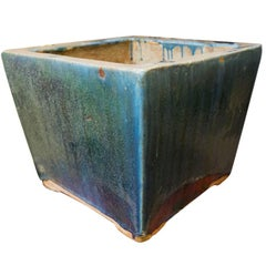 Blue and Green Glazed 20th Century Square Planter