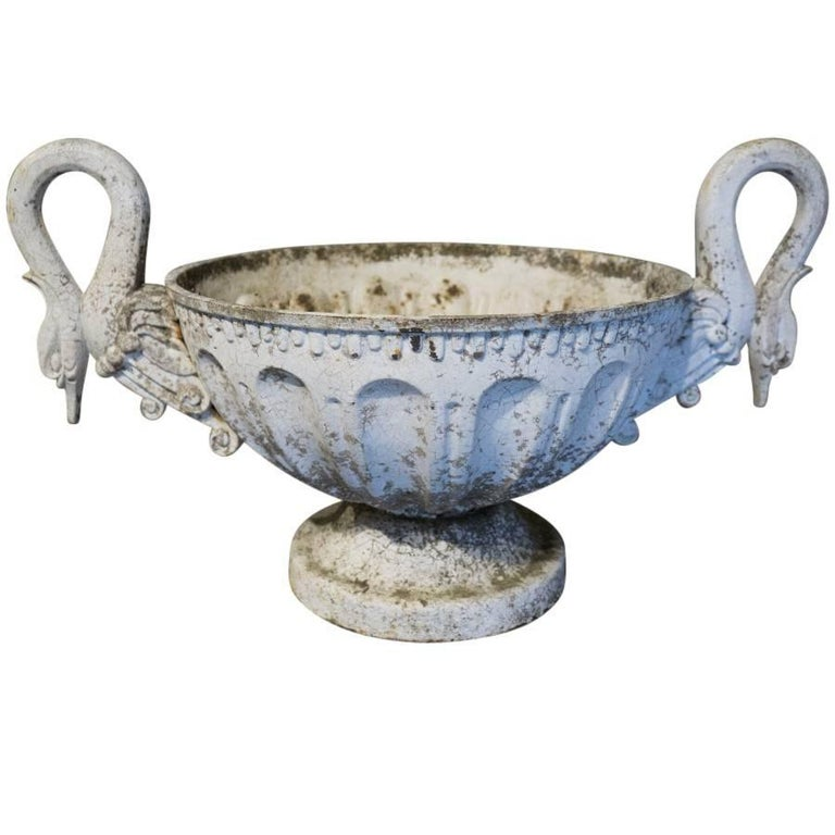 French Antique Swan Handle Cast Iron Urn In Good Condition For Sale In Culver City, CA