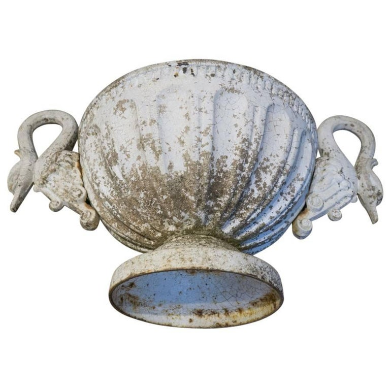 French Antique Swan Handle Cast Iron Urn For Sale 2