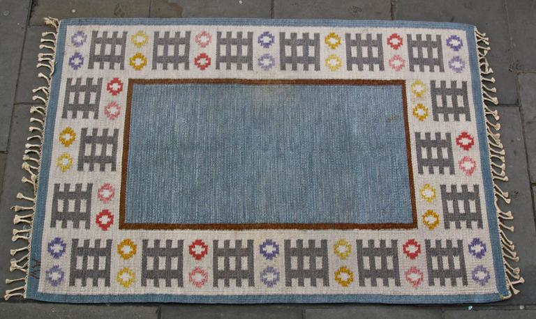 Hand-Woven 1950s Swedish Rug by AW For Sale