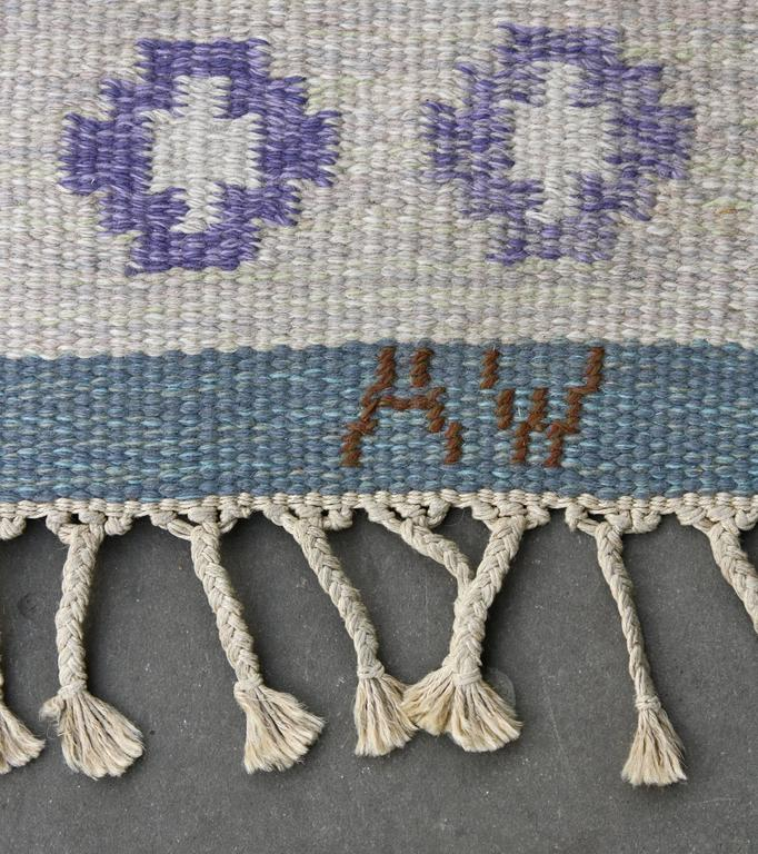 Wool 1950s Swedish Rug by AW For Sale