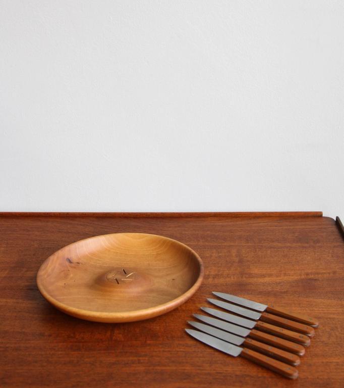 Mid-Century Modern Carl Auböck II Fruit Knife and Bowl Set For Sale