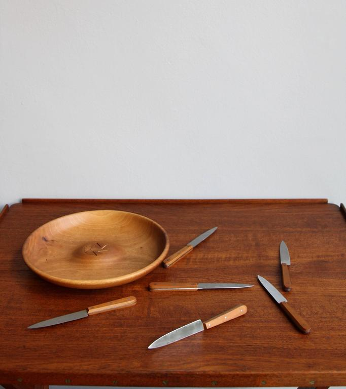 19th Century Carl Auböck II Fruit Knife and Bowl Set For Sale