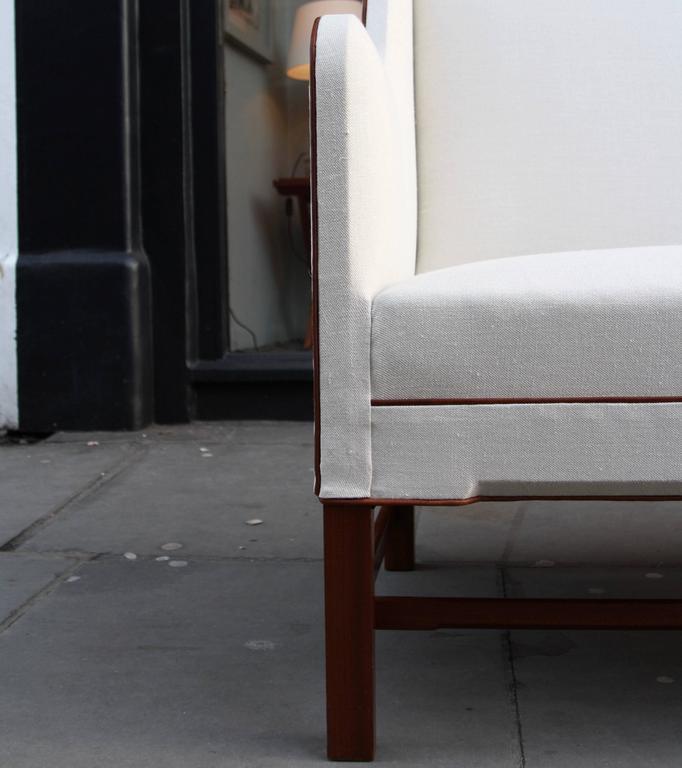 Danish Kaare Klint Model 4118 Two-Seat Box Sofa by Rud Rasmussen For Sale