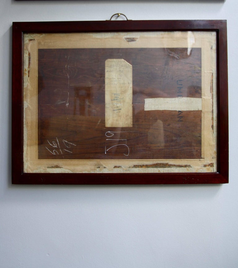 A solid mahogany wood frame with original handblown glass and brass handle. The frame comes from the Victoria and Albert Museum for whom it was made circa 1920. Intended to be trays/display cases for two-dimensional specimens that toured the United