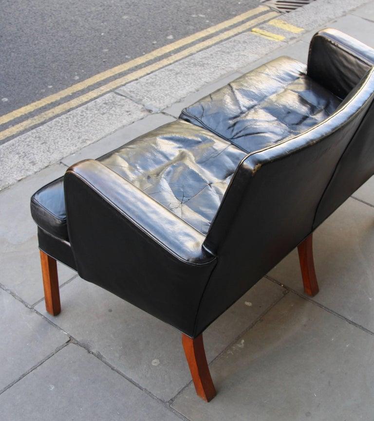 Danish Kaare Klint Model 5313 Two-Seat Leather Settee by Rud Rasmussen, 1935 For Sale