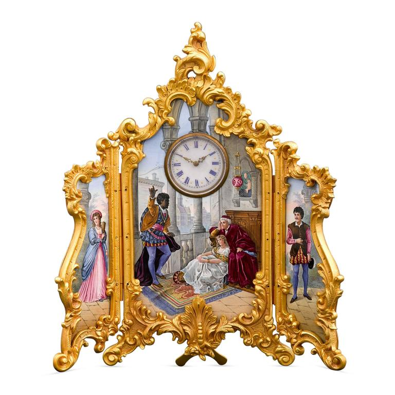 Tri-Fold Porcelain Painting and Clock