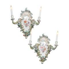 Pair of Meissen Porcelain Sconces