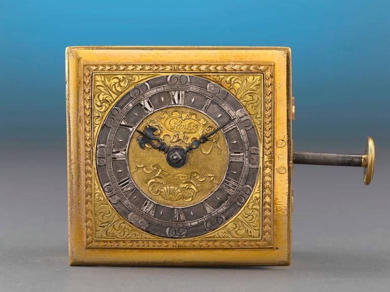 Crafted by Prague clockmaker Andreas Glenck, this rare and important horizontal table clock dates to the late Renaissance and has the ability to strike on the hour and quarter hour. This variety of square-form clock is one of the first spring-driven