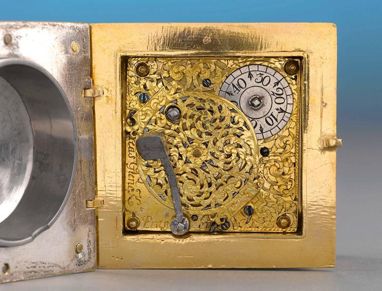 Czech Renaissance Horizontal Table Clock For Sale