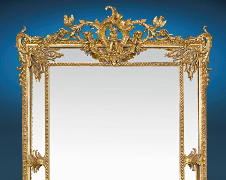 French Louis XV Revival Giltwood Mirror For Sale