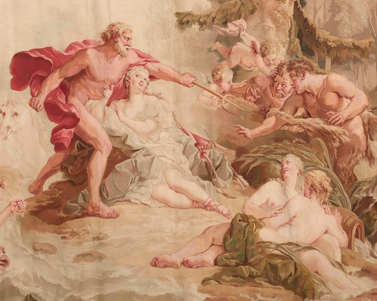 Monumental in size and exquisitely crafted, this extraordinary French tapestry was woven by the famed Aubusson manufactory. The stunning work was inspired by the Rococo master François Boucher's Neptune and Amymone: The Allegory of Water, which he