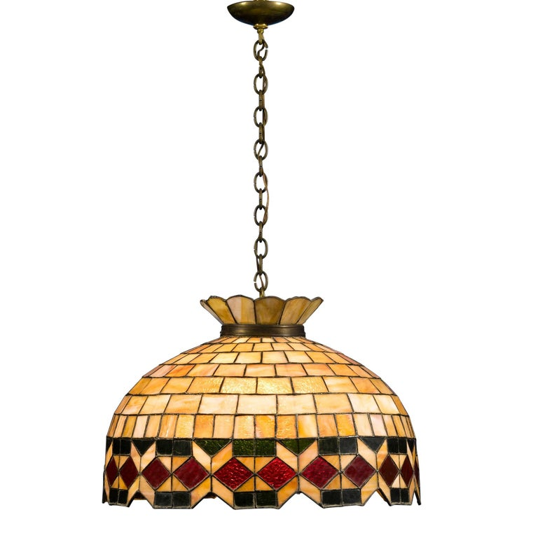 Leaded Glass Hanging Light For Sale