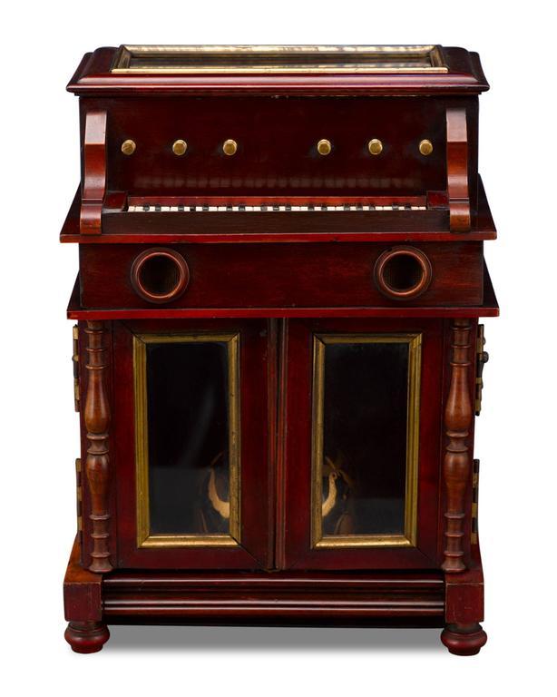 Gilt 19th Century Upright Piano Cave À Liqueur For Sale