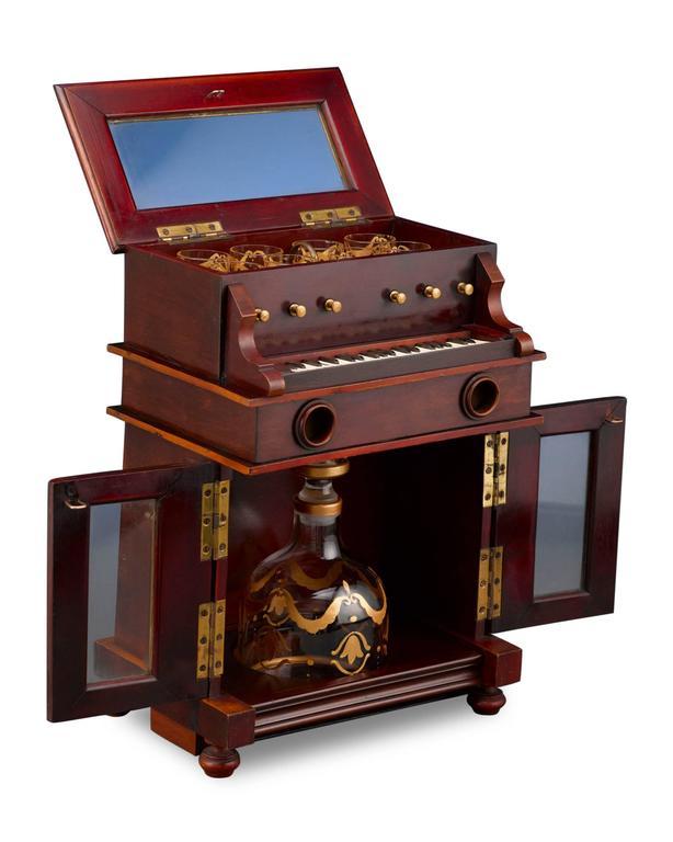 Glass 19th Century Upright Piano Cave À Liqueur For Sale