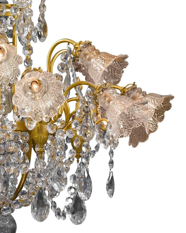French Eighteen-Light Baccarat Crystal Chandelier For Sale