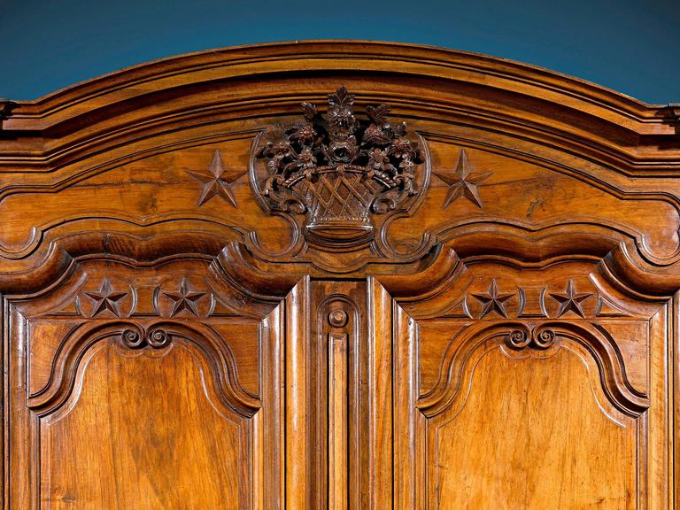 Louis XV  French Provincial Walnut Armoire For Sale