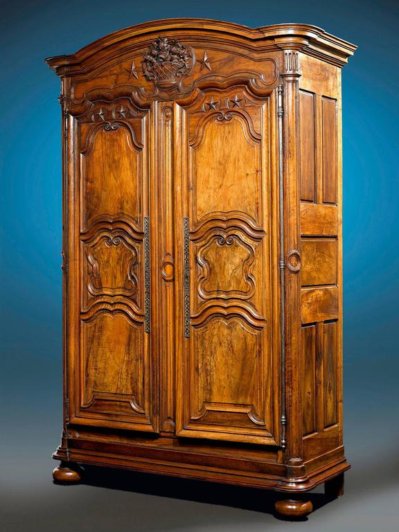 Carved  French Provincial Walnut Armoire For Sale