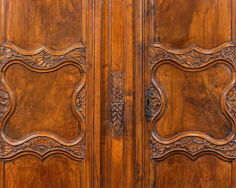 Carved French Provincial Double Door Armoire For Sale