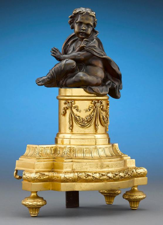 French Louis XVI-Style Bronze Chenets In Excellent Condition For Sale In New Orleans, LA