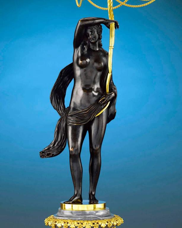 Louis XVI 18th Century Russian Figural Bronze Candelabra For Sale