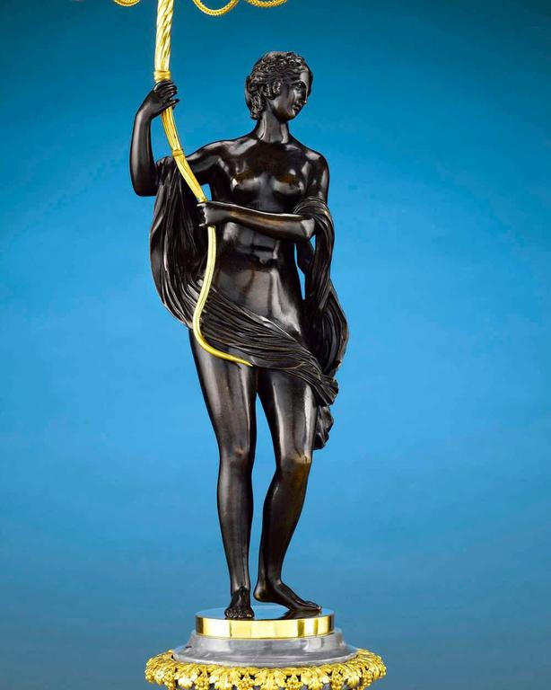 French 18th Century Russian Figural Bronze Candelabra For Sale