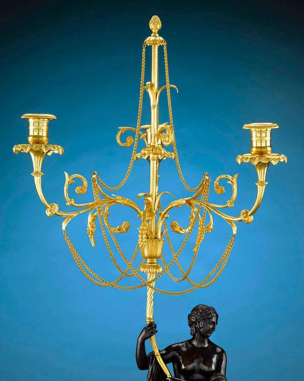 Gilt 18th Century Russian Figural Bronze Candelabra For Sale