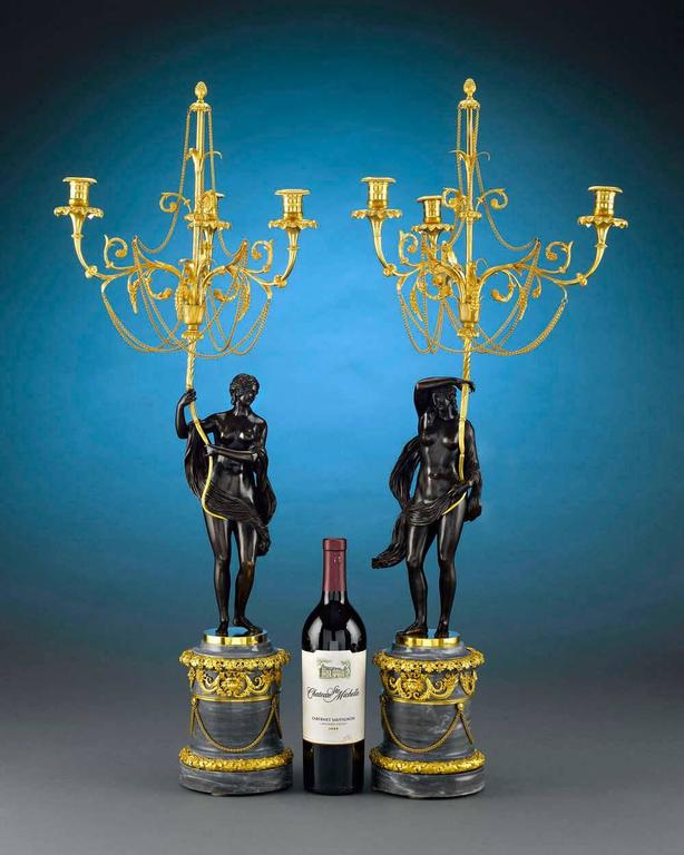 18th Century and Earlier 18th Century Russian Figural Bronze Candelabra For Sale