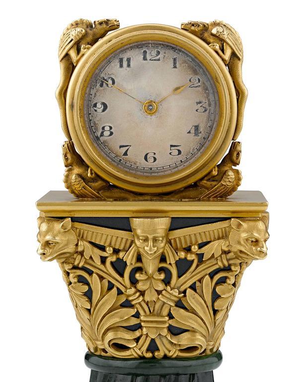 Art Nouveau Paul Frey Miniature 18-Karat Gold and Jade Clock For Sale