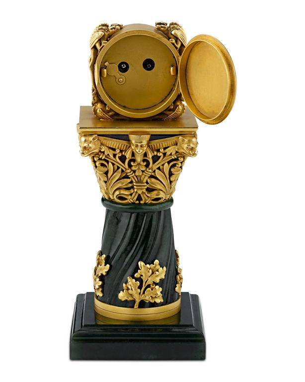 French Paul Frey Miniature 18-Karat Gold and Jade Clock For Sale