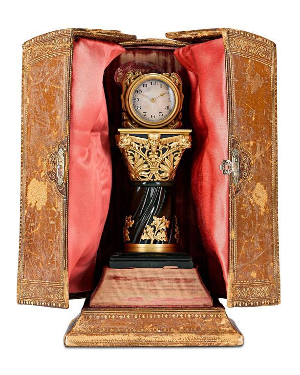 Gilt Paul Frey Miniature 18-Karat Gold and Jade Clock For Sale